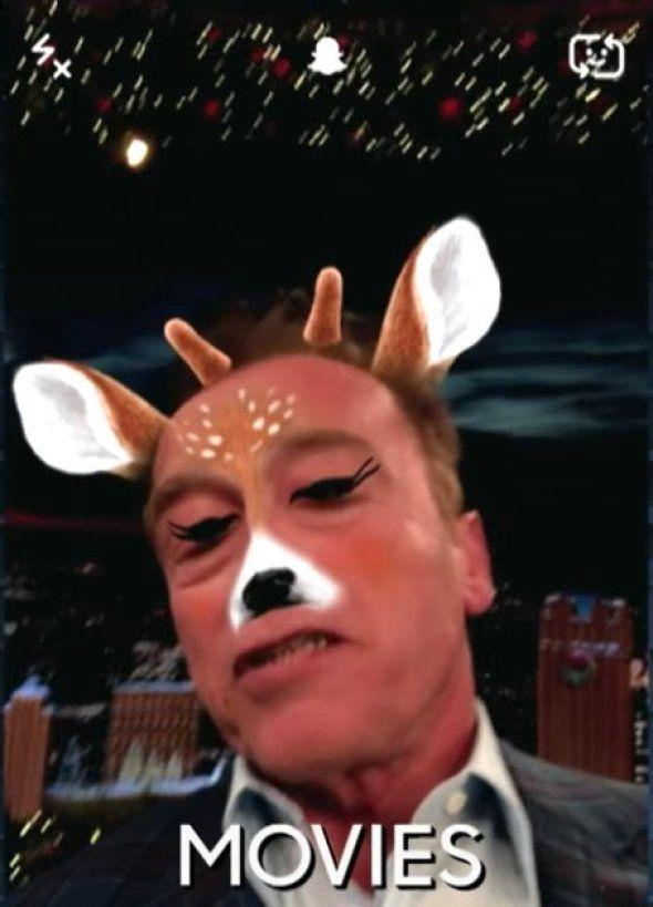 Shwarzy est aussi le Terminator du filtre Snapchat, c'était mercredi 14 décembre, sur le plateau du Tonight