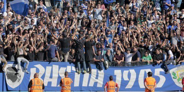 Les supporters bastiais lors de Bastia-Lyon le 16 avril