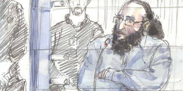 Un dessin représentant Abdelkader Merah au Palais de Justice de Paris, le 20