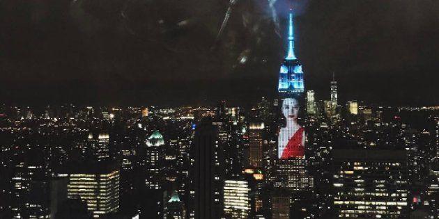 Le portrait de Kendall Jenner projeté sur l'Empire State Building à New