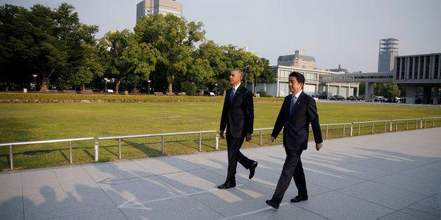 Barack Obama et Shinzo Abe à Hiroshima le 27 mai
