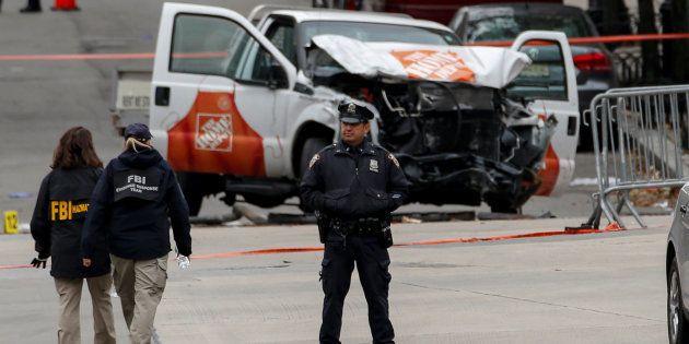 La zone de l'attaque surveillée par la police à New York le 1er novembre