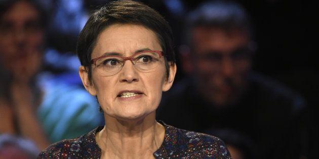 Nathalie Arthaud, candidate de Lutte ouvrière, le 4 avril