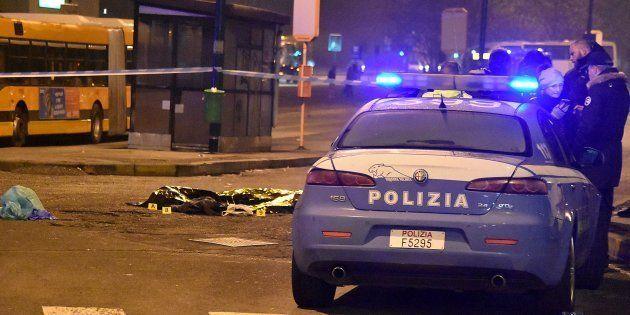 Une voiture de police près du corps d'Anis Amri, abattu le 23 décembre à