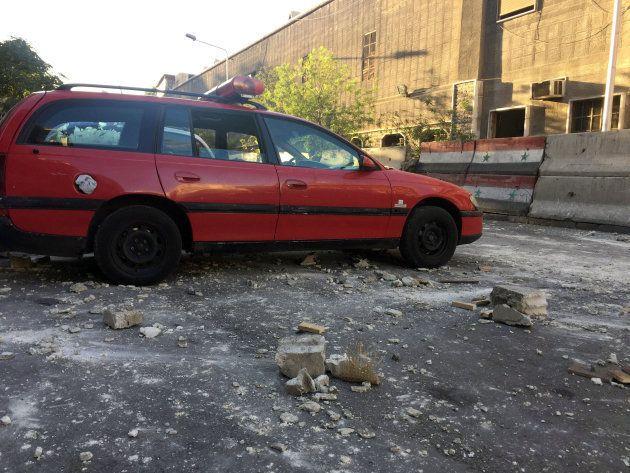 À proximité du quartier général de la police dans le centre de Damas, photo prise le 11