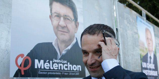 Jean-Luc Mélenchon et Benoît Hamon les deux candidats de gauche les plus bêtes du monde. REUTERS/Gonzalo