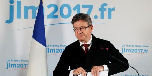 Jean-Luc Mélenchon à son QG après l'annonce des premières