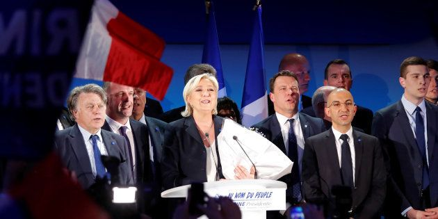 Marine Le Pen à Hénin-Beaumont après l'annonce des résultats du premier tour de la