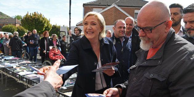 Marine Le Pen a Hénin-Beaumont, lundi 24 avril 2017, au lendemain du premier tour de l'élection présidentielle...