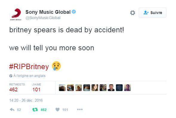 Britney Spears répond avec humour à l'annonce de sa mort par