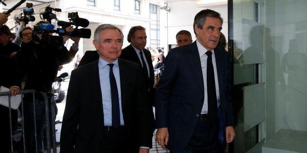 François Fillon à son arrivée ce lundi au siège des
