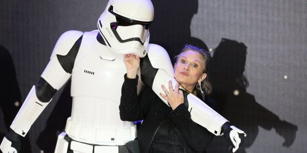 Carrie Fisher à Londres le 16 décembre