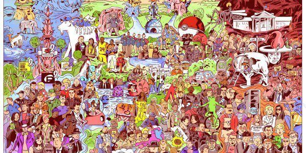 Une illustration de Niv Bavarsky rassemblant 127 événements marquants de l'année