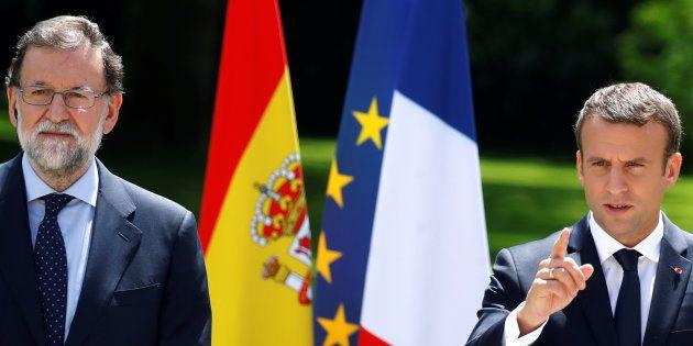 Le Président Emmanuel Macron et le Premier ministre Mariano Rajoy lors d'une conférence de presse à l'Elysée...