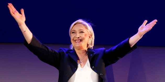 Marine Le Pen lors de la soirée électorale du 23 avril