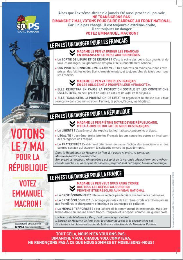 Le PS diffusera bien un tract anti-Marine Le Pen (mais sans ce