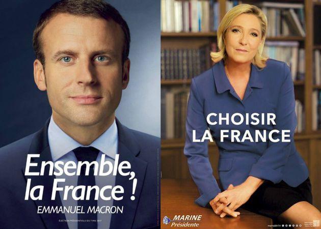 Les affiches de campagne d'Emmanuel Macron et Marine Le Pen valent le