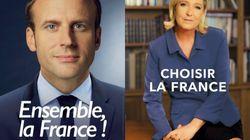 Les affiches de campagne de Macron et Le Pen valent le