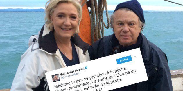 Marine Le Pen va à la pêche, Macron se moque sur
