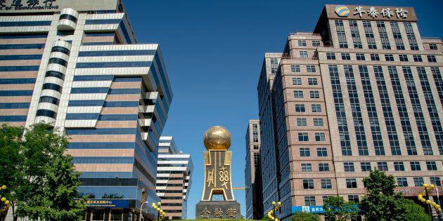 Les sièges des banques et des assurances dans le quartier financier de Pékin, le 13 mai