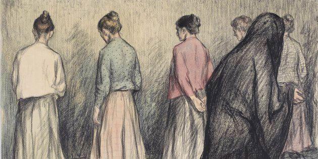 Ouvrières sous la surveillance d'une religieuse, dessin d'Aristide Delannoy, L'Assiette au beurre,