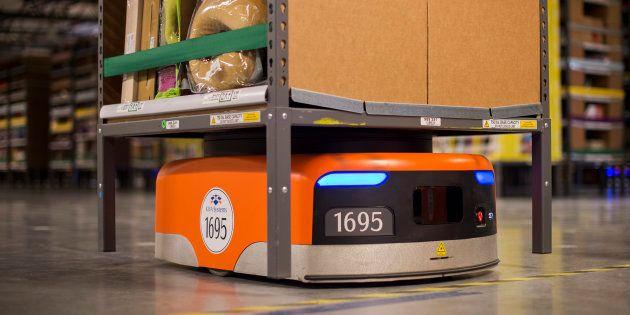 Les robots de la société Kiva qu'Amazon a acheté en