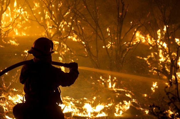 Un pompier combat les flammes s'abattant sur les forêts du nord de San Bernardino en