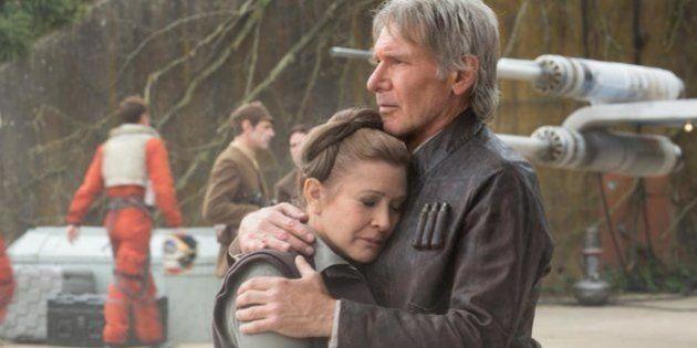 La princesse Leia (Carrie Fisher) et Han Solo (Harisson Ford) dans Star Wars