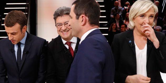 Emmanuel Macron, Jean-Luc Mélenchon, Benoît Hamon et Marine Le Pen lors du débat du premier