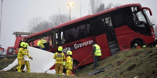 Le bus accidenté près de Charolles, le 8