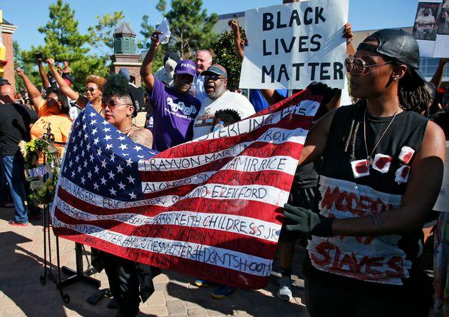 Un rassemblement de Black Lives Matter à Oklahoma City, en juillet