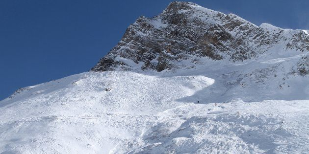 Le site d'une avalanche à Tignes, dans les Alpes, photographié en février (Image