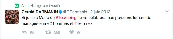Gérald Darmanin et ses tweets anti-mariage gay passent mal quand Macron veut que