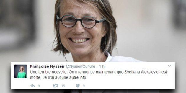 L'écrivaine Svetlana Alexievitch annoncée morte par un faux compte de Françoise Nyssen, la nouvelle ministre...