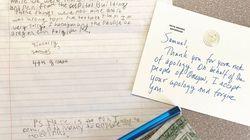 La lettre d'excuses adorable de cet écolier à la gouverneure de