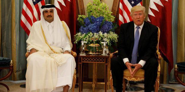 L'émir Tamim ben Hamad al-Thani et Donald Trump, le 21 mai, quelques jours avant le