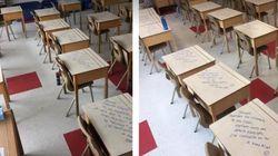 Elle a écrit sur les pupitres de ses élèves pour leur éviter de stresser aux
