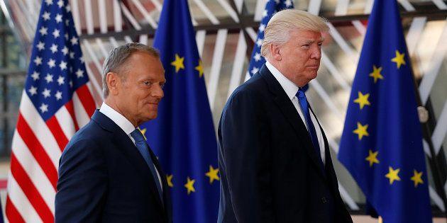 Donald Tusk et Donald Trump à Bruxelles le 25