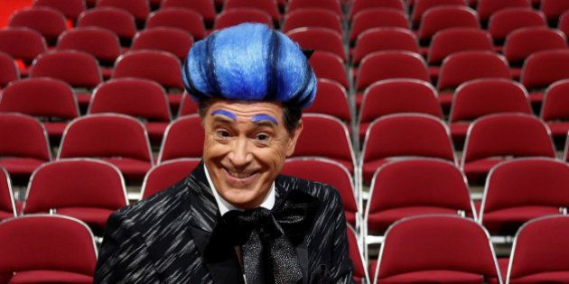CBS television comedian Stephen Colbert films comedy bits with his crew on the floor of the Republican...