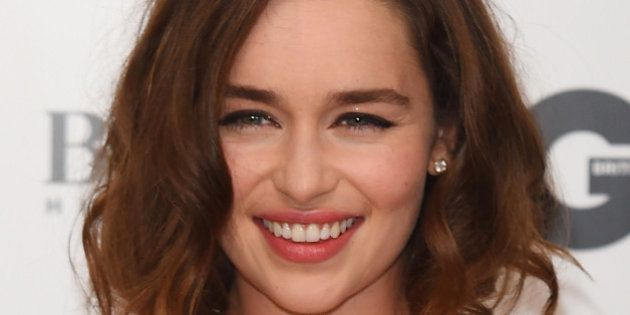 Emilia Clarke poses for photographers at the GQ Men of the Year Awards 2015 at a central London venue,...