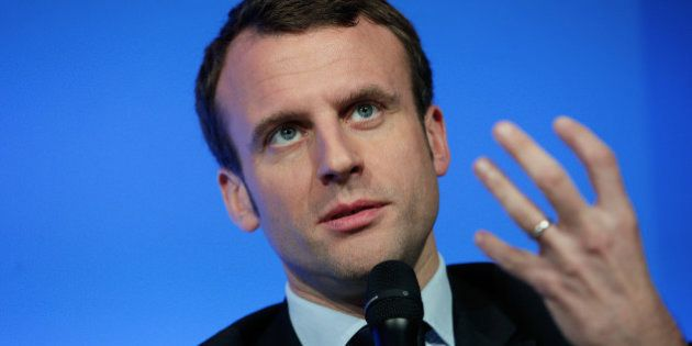 FILE - In this March 14, 2016 file photo, Economy Minister Emmanuel Macron gives a press conference,...