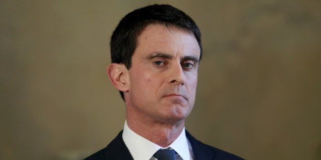 French Prime Minister Manuel Valls talks to the press during a press conference with Algerian Prime Minister...