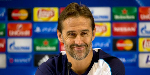 FILE - In this Tuesday, Nov. 3, 2015 file photo, Porto's then head coach Julen Lopetegui smiles during...