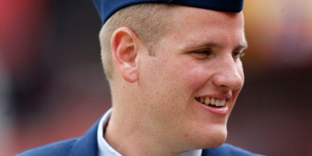 FILE - In this Sept. 20, 2015 file photo, US Air Force Airman 1st Class Spencer Stone walks along the...