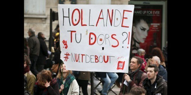 French labour union workers and students attend a demonstration against the labour law proposal in Paris,...