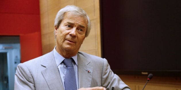 Vincent Bollore, Chairman of media group Vivendi, arrives to attend a hearing at the French Senate in...