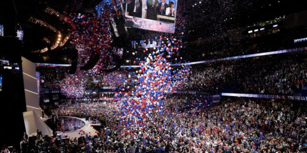 Balloons fall after Republican Presidential Candidate Donald Trump, addresses the delegates during the...
