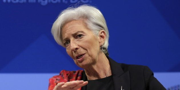 International Monetary Fund (IMF) Managing Director Christine Lagarde speaks at a refugee crisis panel...