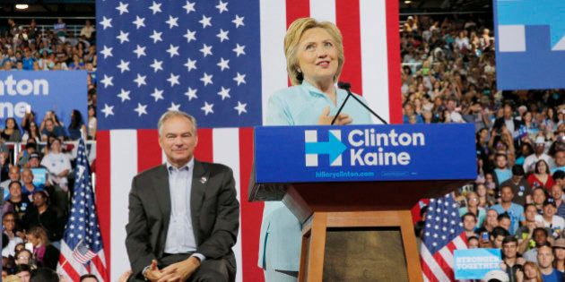 Democratic U.S. presidential candidate Hillary Clinton introduces U.S. Senator Tim Kaine (D-VA) as her...