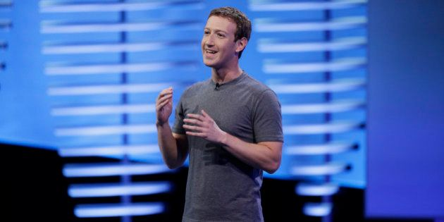 Facebook CEO Mark Zuckerberg during the keynote address at the F8 Facebook Developer Conference Tuesday,...